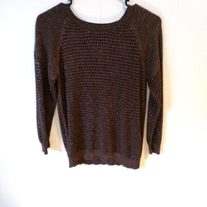 Express Brown/Gold Netted Sweater. Small